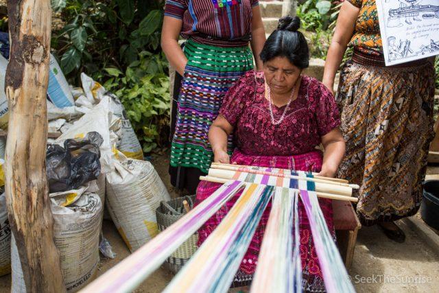 Hand Dyed Fabric Demonstration in San Juan La Laguna, Guatemala with Maya Traditions