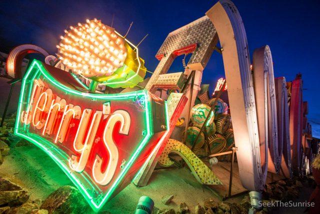Neon Museum in Las Vegas at Night